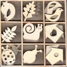 BOX OF 45 WOODEN SHAPES ORNAMENTS BIRDHOUSE SNAIL LADYBIRD LEAVES 1032