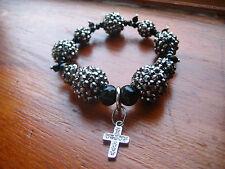 NEW Shamballa dangling cross charm bling bracelet