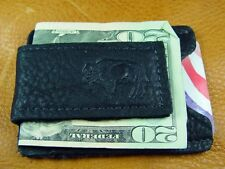 Black Bison BUFFALO Leather MoneyClip CardCase hand crafted by disabled vet 5014