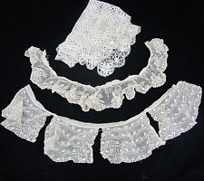 2 ANTIQUE LACE COLLARS 2 Table PLACEMATS Floral Cream Crochet Scalloped FLOWER