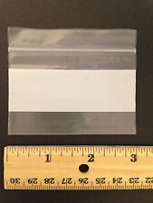 Reclosable  3x2 inch Plastic Zippy Bags White Block Side Zip 100 count