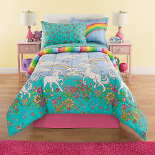 Rainbows & Unicorns Girls Reversible Twin Comforter Set (6 Piece Bed In A Bag)
