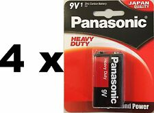 4 Panasonic Heavy Duty Batteries 9V 6F22DP Smoke alarms and similar Zinc Carbon