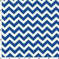 Fabric Chevron Medium Bright Blue Cobalt on White Cotton by the 1/4 yard BIN