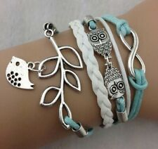 Fashion Party Boho Festival Boutique Uk Silver Blue Owl Bird Bracelet Set Rope