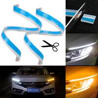 2PCS Flexible 60cm LED Turn Signal Strip DRL Headlight White Amber CAR Lights UK