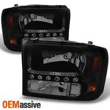 99-04 Ford F250/F350 SD Excursion Black Smoke 1PC LED Headlights Corner Lamp Set