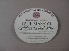 Paul Masson Wine 1984 Vintage Beer Mat Win Holiday Competition