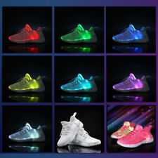 Unisex 7 Color Led Fiber Optic Light Ultralight Sneaker Shoes USB rechargeable