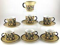 Vintage Retro Teak Coffee Cups Saucers Creamer MCM Mid Century Modern Set S137
