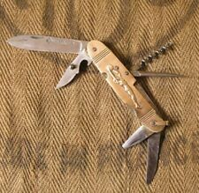 French antique pocket knife brass handle L'ARBALETE Couteau figuratif en laiton