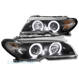 For 04-06 BMW E46 3 Series 2Dr LED Halo Projector Headlights Headlamp Lamp Black