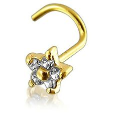 Nose Stud Screw Piercing 18 Ct Yellow Gold Body Jewellery Flower With Stones
