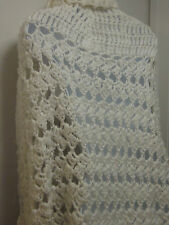 Vintage Chunky White Knit Shawl Coat/Wrap-Has Collar, 2 side openers, Tie Close