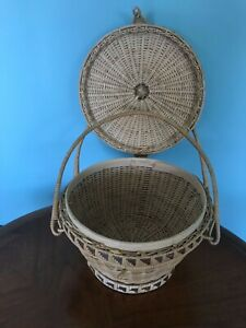 Large Vintage  Wicker Basket Round Storage Woven Handle Lid  Two Tone