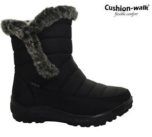 Womens Snow Boots Winter Thermal Fur Lined Grip Sole Comfy Ankle Boots Sizes 3-8