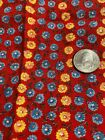 Feed Sack Piece-15'x25',Tiny Blue/Yellow Floral on Rich Red Background Desirable