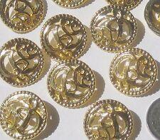 Pierced FANCY Art Nouveau Style set 11 vtg new Gold METAL buttons 24mm 15/16