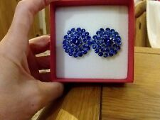 Brand new huge clip-on earrings with bright blue diamanté crystals +  box