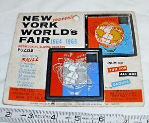 ROALEX NEW YORK WORLDS FAIR INTERLOCKING SLIDING SQUARES PUZZLE ON CARD
