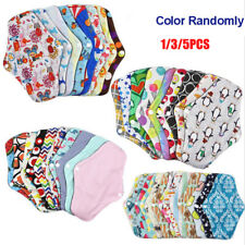 1-5x Women Menstrual Pads Reusable Panty Liners Sanitary Bamboo Washable Cloth D
