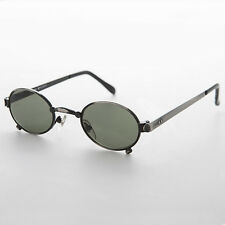 Small Oval Steampunk Spectacle Vintage Sunglass Gun Metal/Green - Edison