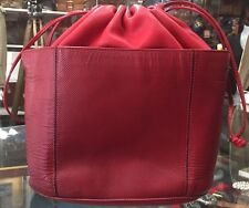 Red Leather Bottega Veneta Drawstring Bag