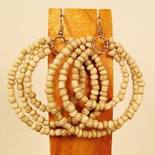 "2 1/2"" Natural Color Triple Hoop Gypsy Style Handmade Seed Bead Hook Earrings"