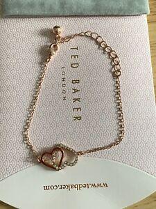 Ted Baker Larsae Swarovski Crystal Heart Chain Bracelet, Rose Gold