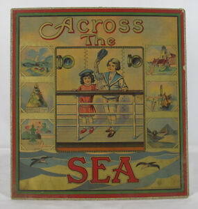 Antique Early 1900's Milton Bradley's Game Across The Sea Box Top Lithograph yqz