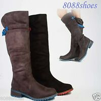 Women's Fashion Round Toe zipper Low Heel Knee High Boot Shoes Size 5 - 10 New