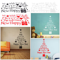 Merry Christmas Happy New Year Wall Stickers Vinyl Decal Shop Window Decoration