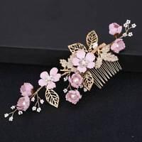 Pearl Crystal Bridal Prom Headdress Flower Gold Hollow Leaf Wedding Hair Comb