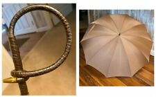 Vintage N. Y. Umbrella Co. 100% Nylon Umbrella W/ Faux Croc Circular Handle 27�