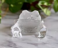 Cute Lalique Crystal Gregoire Frog, Clear & Frosted #11640 Signed Mint