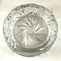 Vintage Heavy Crystal Cut Glass Ashtray Pinwheel Pattern 5 x 1-3/4 Inches