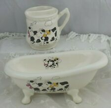 Vintage Soap Dish Holder Toothbrush Cup Cow Theme Athena Made in USA