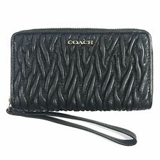 Coach Madison Wristlet Wallet Gathered Leather Zip Around Black