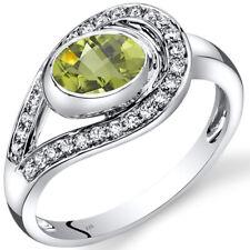 14K White Gold Peridot Diamond Infinity Ring  0.97 Carats Size 7