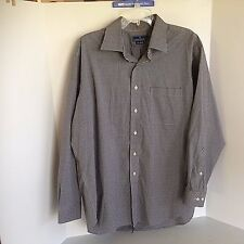 Lanesboro Men's Black & White Check 17.5 Long Sleeve Dress Shirt