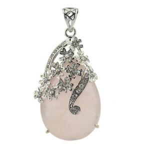 Exclusive Handmade Gift Natural Rose Quartz Gemstone Silver Necklace Pendants