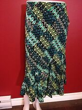 NOTATIONS Petite Women's Blue/Green Elastic Waist Skirt - Size PM - NWT $44