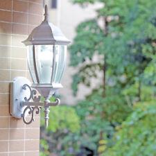 European Style White Metal Glass Lantern 1 Light Outdoor Coach Light Wall Sconce