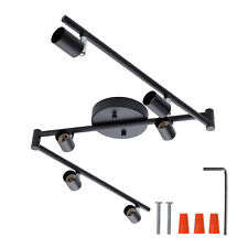 AIBOO 6-Light Adjustable Track Lighting Black with Foldable Arms for Living Room