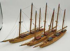 Set of 3 Vintage Wooden Schooner Sailboat Model signed Hand Made in Ireland 1960