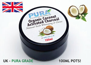 100% COCONUT Activated Charcoal Powder 100ML - Organic Teeth Whitening & Detox