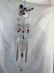 """Stained Glass Art Glass Wind Chime Snowman Christmas Decor 30"""" Total 9.75"""" Pipes"""