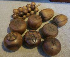 Vintage Wooden Fruit Lot  Wood Carved Centerpiece Food, 9 pieces