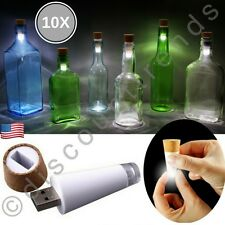 10x Cork Shaped Rechargeable USB LED Night Light Wine Bottle Lamp Wedding Party