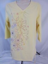 D & Co. Denim & Co. Yellow Floral Embroidered Blouse Shirt - Women's M - CB8V